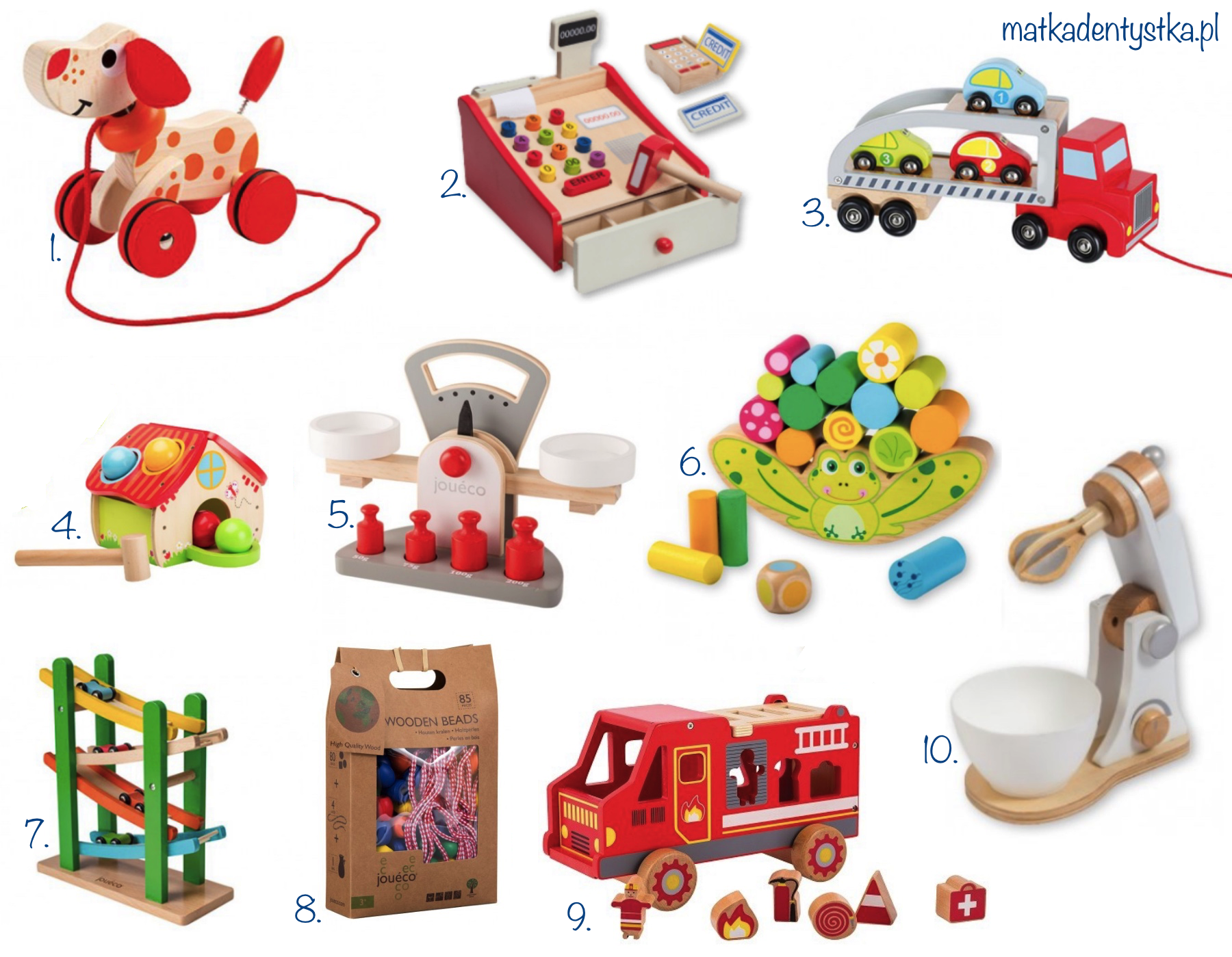 drewniane zabawki joueco prezent mikołaj choinka